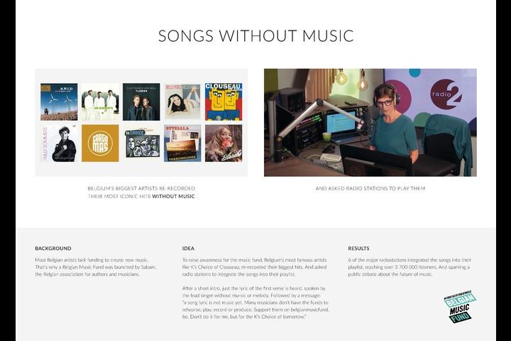 Songs without Music - Belgian music - Belgian Music Fund